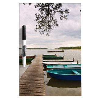 Moorings with boats on a lake dry erase whiteboard