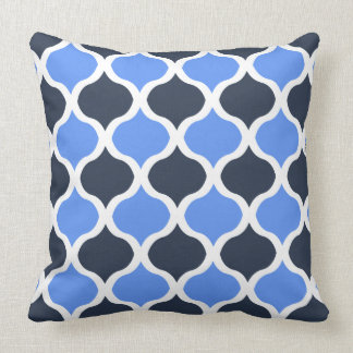 Moorish Arabesque (Cornflower and Black) Throw Pillow