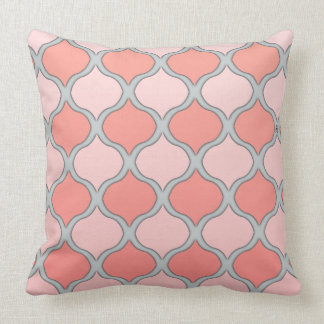 Moorish Arabesque (Pink, Coral, Gray) Throw Pillow
