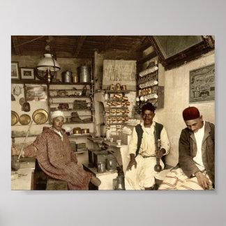Moorish coffee house, Algiers, Algeria vintage Pho Print