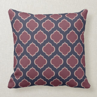 Moorish Design Inspired Ogee, Aubergine, Pink Throw Pillow