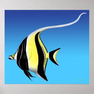 Moorish Idol Fish Deep Blue Poster