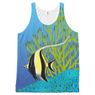 Moorish Idol Reef Fish Unisex Tank All-Over Print Tank Top