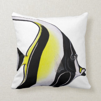 Moorish Idol Tropical Reef fish throw pillow