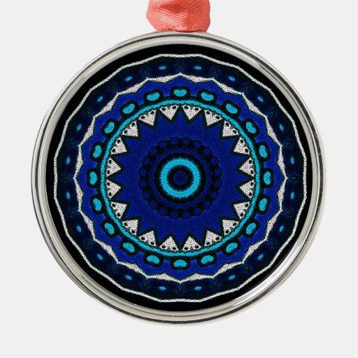 Moorish Ottoman tile Floral Star design Round Metal Christmas Ornament