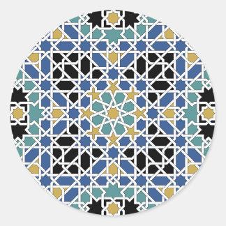 Moorish tile classic round sticker