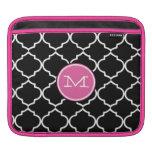 Moorish Tile Pink Black and White iPad Sleeve