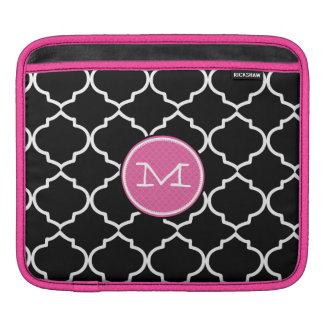 Moorish Tile Pink Black and White iPad Sleeve