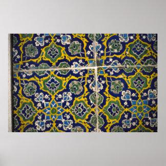 Moorish tile, The Alhambra, Granada, Spain Poster