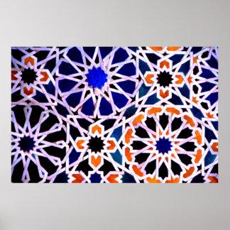 Moorish tile, The Alhambra, Spain Poster