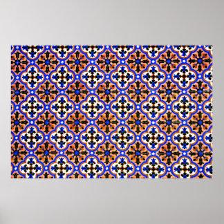Moorish tile, The Alhambra, Spain Print