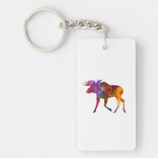 Moose 02 in watercolor keychain