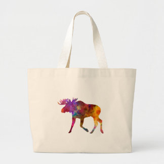 Moose 02 in watercolor large tote bag