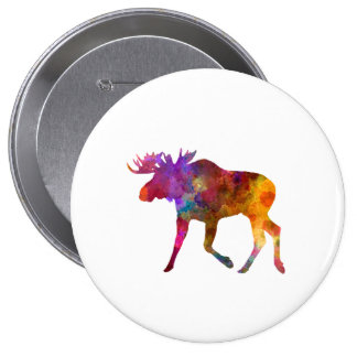 Moose 02 in watercolor pin redondo de 4 pulgadas