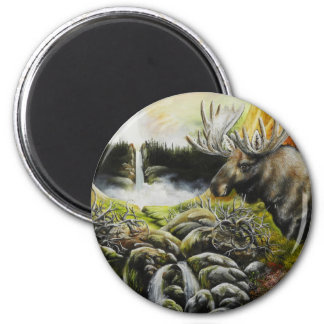 Moose~ A Painting on customizable products 2 Inch Round Magnet