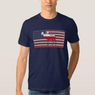 Moose American Flag on Navy Blue T-shirt