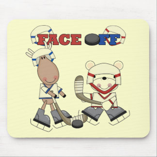 Moose and Bear Hockey Face Off Tshirts and Gifts Mouse Pad