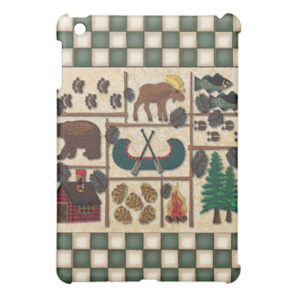 Moose and Bear Rustic Lodge Look Cabin in Woods iPad Mini Cover