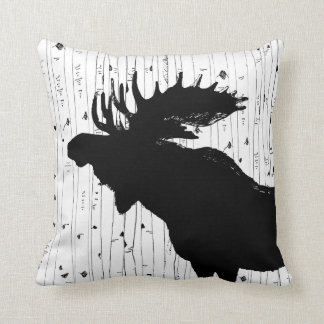 Moose and Birch Tree Pillow