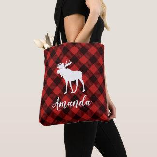 Moose and Buffalo Red Plaid Pattern Christmas Tote Bag