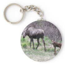 Moose and Calf Keychain