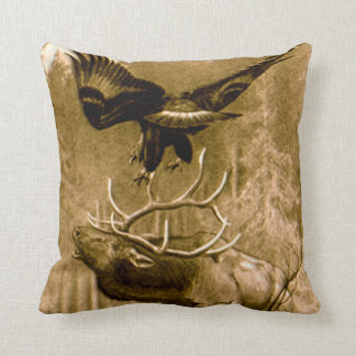 Moose and Eagle Drawing Throw Pillows