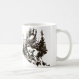 Moose and pines coffee mug
