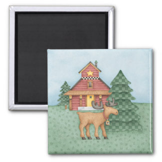 Moose at Cabin 2 Inch Square Magnet
