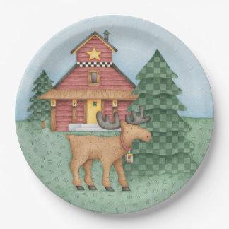 Moose at Cabin Paper Plate