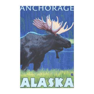 Moose at Night - Anchorage, Alaska Gallery Wrap Canvas