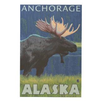 Moose at Night - Anchorage, Alaska Wood Print