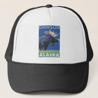 Moose at Night - Dawson, Alaska Trucker Hat