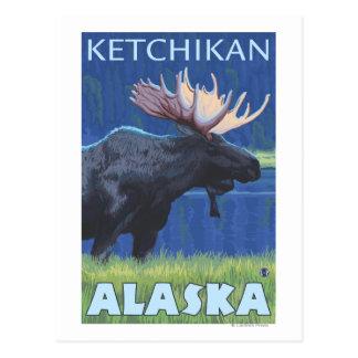 Moose at Night - Ketchikan, Alaska Postcard