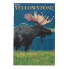 Moose at Night - West Yellowstone, Montana Wood Wall Decor