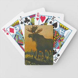 Moose at Sunset Swamp Donkey Poker Play Cards Deck Bicycle Playing Cards