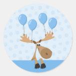 Moose blue balloons envelope seal/label round sticker