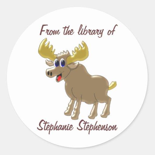 Moose Bookplate Classic Round Sticker