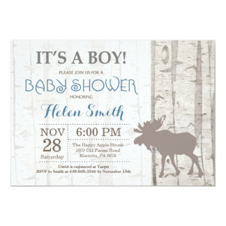 Moose Boy Baby Shower Invitation Rustic Woodland