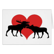 moose bull and cow card