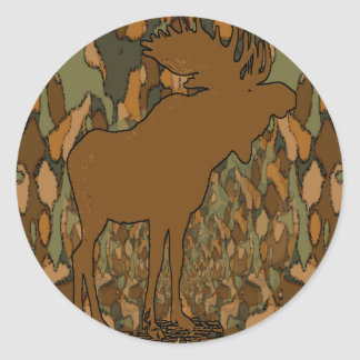 Moose Camouflage Gifts and Invitations Classic Round Sticker