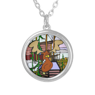 Moose Cartoon Silver Plated Necklace
