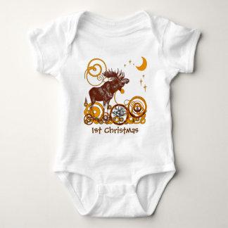 Moose Christmas Baby Bodysuit