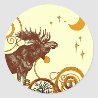 Moose Christmas Classic Round Sticker