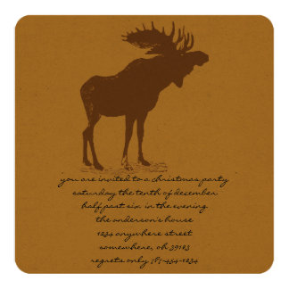 Moose Christmas Dinner Invitations