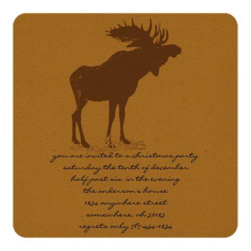 Moose Christmas Dinner Invitations