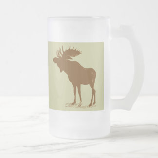 Moose Christmas Frosted Glass Beer Mug