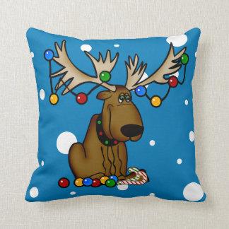 Moose Christmas Snow Throw Pillow