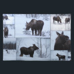 """Moose Collage; No Text Cloth Placemat<br><div class=""""desc"""">This cow and calf moose stopped along the Alaska Highway for a quick graze on the branches in the ditch. They stayed long enough for me to get enough photos to make a collage.</div>"""