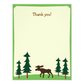 Moose Country Woodland Flat Thank you note Card