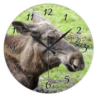 Moose Cow Profile Shot Large Clock